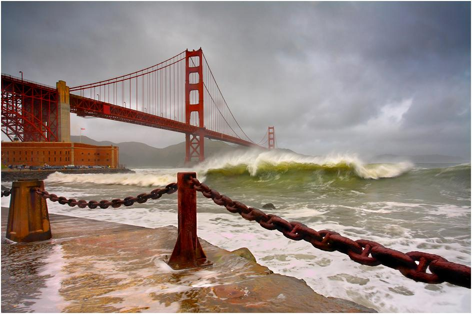 Golden Gate Bridge after rain
